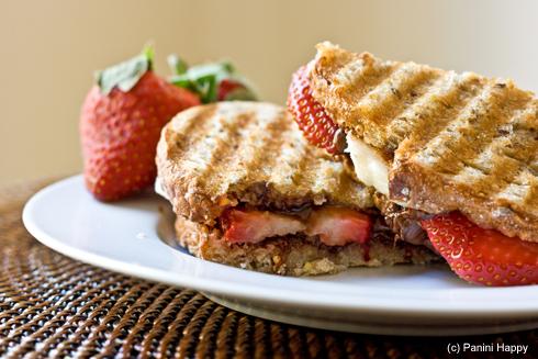 Strawberry Banana Nutella Panini for dessert or breakfast!